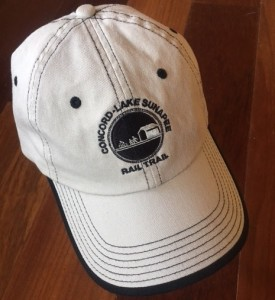 Concord Lake Sunapee Rail Trail baseball hat is a reward for your $100 tax deductible donation to the rail trail.