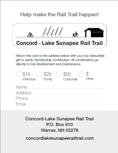 Concord Lake Sunapee Rail Trail donation card